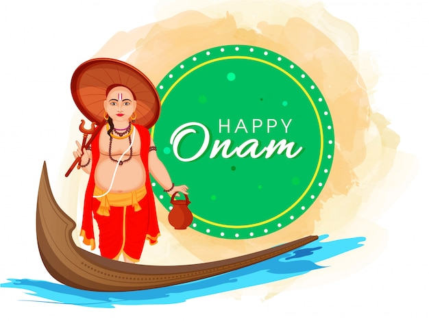 Illustrazione dell'avatar di vamana con la barca di aranmula sul fondo della spruzzata dell'acquerello e del fiume per il festival felice di onam.
