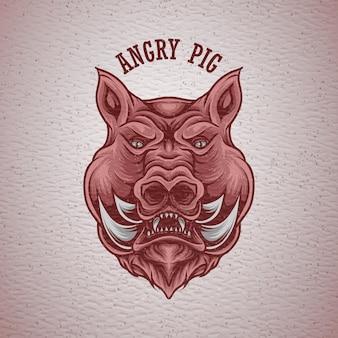Illustrazione vettoriale maiale arrabbiato