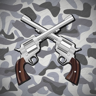 Illustrazione vettoriale attraversato pistole su sfondo mimetico