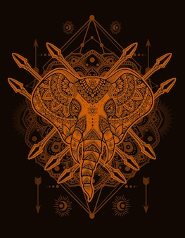 Illustrazione vettoriale stile mandala testa di elefante con ornamento incisione vintage