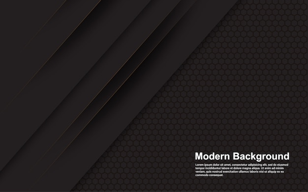 Illustrazione grafica vettoriale di sfondo astratto nero con linea marrone moderna