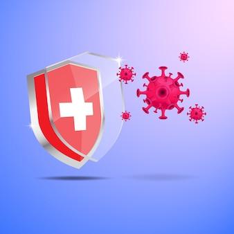 Illustrazione grafica vettoriale di scudo antibatterico o anti-virus