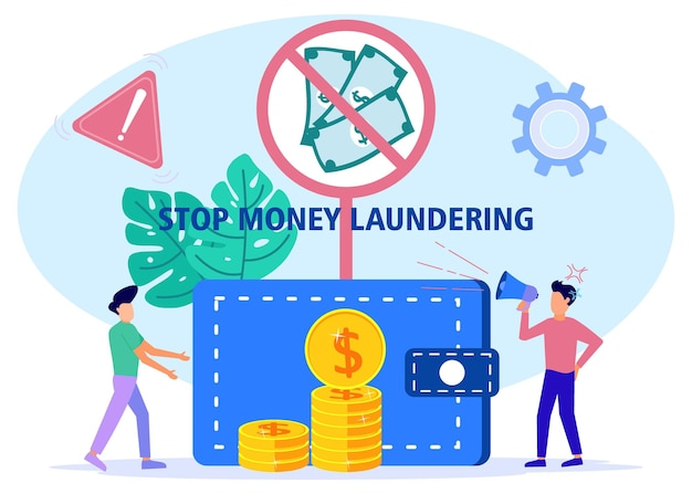 Illustrazione grafica vettoriale personaggio dei cartoni animati di anti riciclaggio di denaro sporco