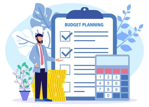 Personaggio dei cartoni animati grafico vettoriale dell'illustrazione della pianificazione del budget