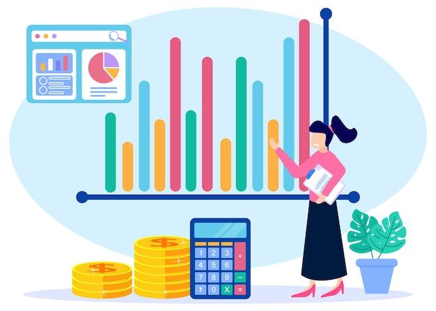 Illustrazione grafica vettoriale personaggio dei cartoni animati di analisi aziendale
