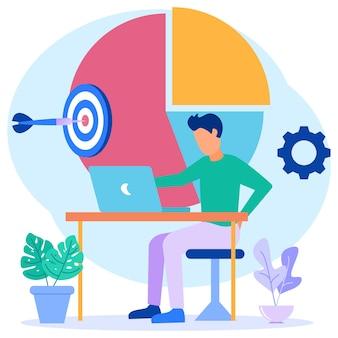 Illustrazione grafica vettoriale personaggio dei cartoni animati dello sviluppo del business