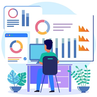 Personaggio dei cartoni animati grafico vettoriale dell'illustrazione del diagramma di affari