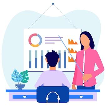 Illustrazione grafica vettoriale personaggio dei cartoni animati di formazione aziendale