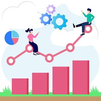 Personaggio dei cartoni animati grafico vettoriale dell'illustrazione della crescita e del progresso del business