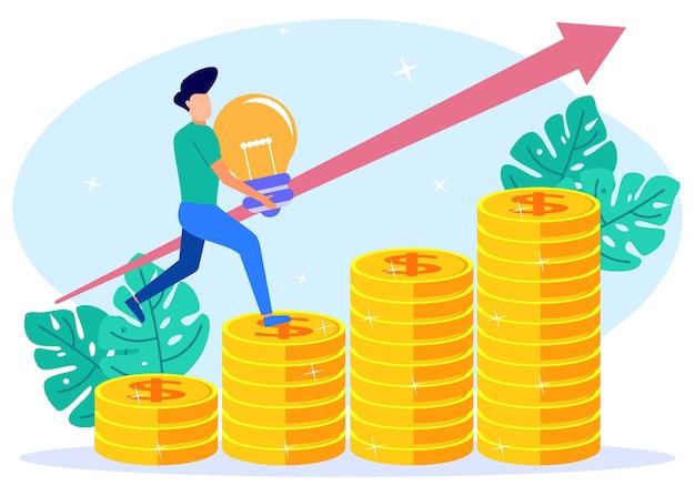 Illustrazione grafica vettoriale personaggio dei cartoni animati di crescita aziendale