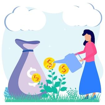 Personaggio dei cartoni animati grafico vettoriale dell'illustrazione dell'investimento aziendale