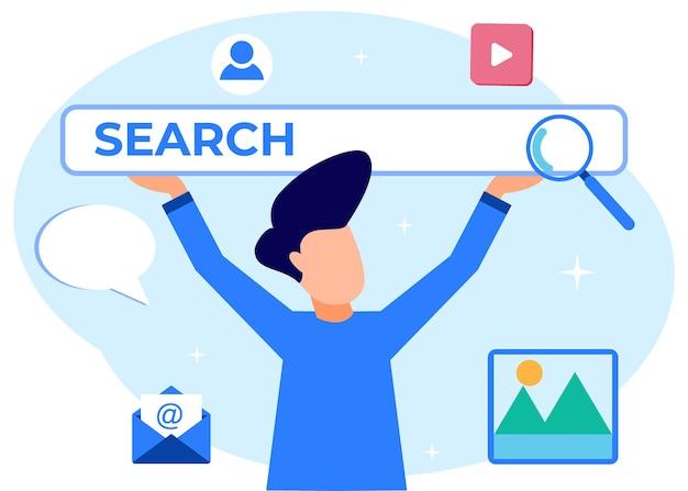 Personaggio dei cartoni animati grafico vettoriale dell'illustrazione della ricerca di affari