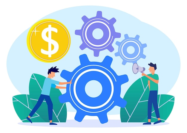 Personaggio dei cartoni animati grafico vettoriale illustrazione dell'analisi della strategia aziendale