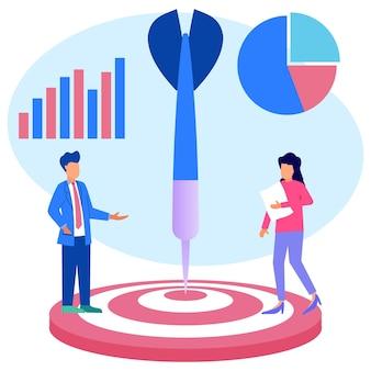 Personaggio dei cartoni animati grafico vettoriale dell'illustrazione dell'obiettivo aziendale