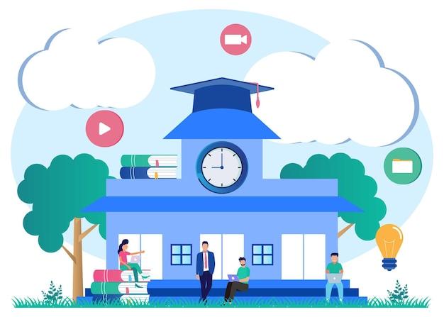 Illustrazione grafica vettoriale personaggio dei cartoni animati del campus
