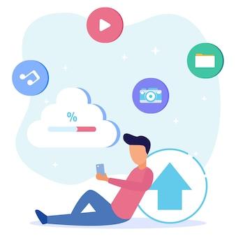 Illustrazione grafica vettoriale personaggio dei cartoni animati di cloud storage