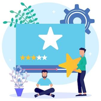Personaggio dei cartoni animati grafico vettoriale dell'illustrazione della valutazione del consumatore