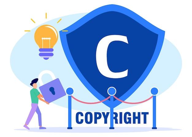 Illustrazione grafica vettoriale personaggio dei cartoni animati di copyright Vettore Premium