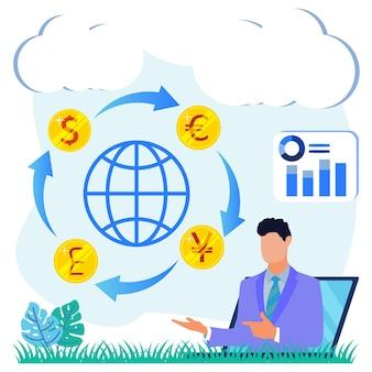 Illustrazione grafica vettoriale personaggio dei cartoni animati di cambio valuta
