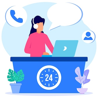 Personaggio dei cartoni animati grafico vettoriale illustrazione dei servizi al cliente