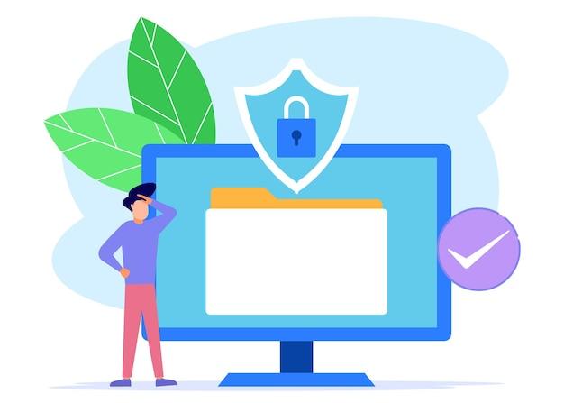 Personaggio dei cartoni animati grafico vettoriale dell'illustrazione della sicurezza dei dati