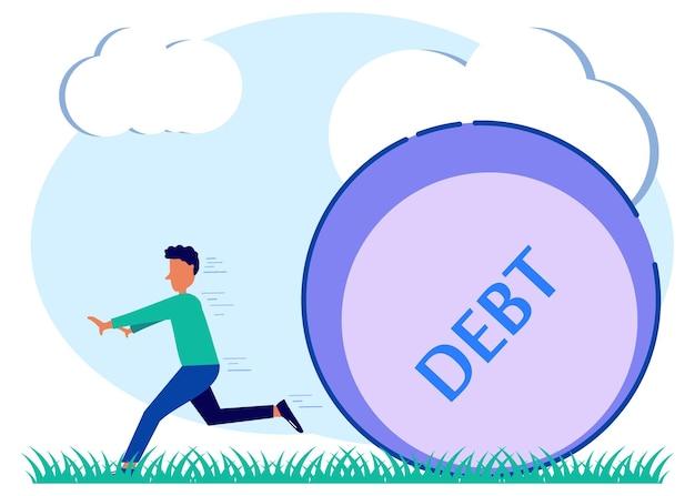 Illustrazione grafica vettoriale personaggio dei cartoni animati del debito
