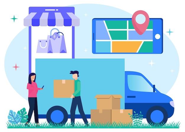 Illustrazione grafica vettoriale personaggio dei cartoni animati della consegna