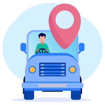 Illustrazione grafica vettoriale personaggio dei cartoni animati di guidare un'auto con indicazioni stradali