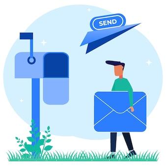 Illustrazione grafica vettoriale personaggio dei cartoni animati di servizi di posta elettronica