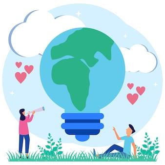 Personaggio dei cartoni animati grafico vettoriale dell'illustrazione della tecnologia rispettosa dell'ambiente