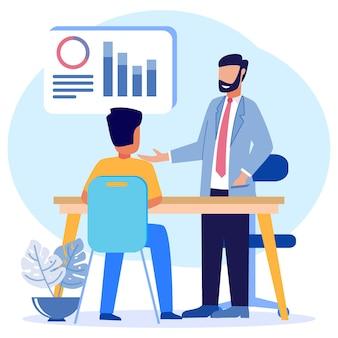 Personaggio dei cartoni animati grafico vettoriale illustrazione della consulenza finanziaria