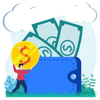 Illustrazione grafica vettoriale personaggio dei cartoni animati di transazioni finanziarie