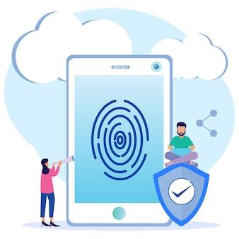 Personaggio dei cartoni animati grafico vettoriale dell'illustrazione della protezione dei dati delle impronte digitali