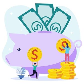 Personaggio dei cartoni animati grafico vettoriale dell'illustrazione dell'investimento futuro