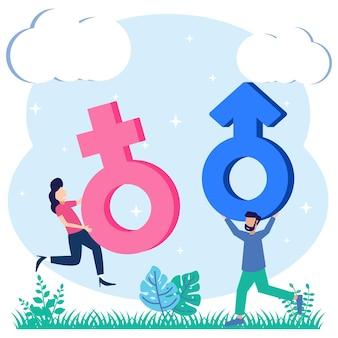 Illustrazione grafica vettoriale personaggio dei cartoni animati del simbolo di genere