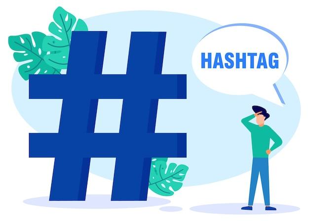 Illustrazione grafica vettoriale personaggio dei cartoni animati di hashtag