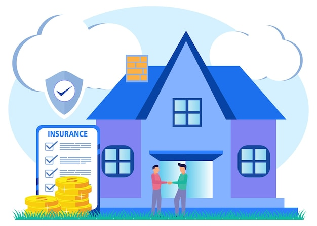 Illustrazione grafica vettoriale personaggio dei cartoni animati dell'assicurazione sulla casa