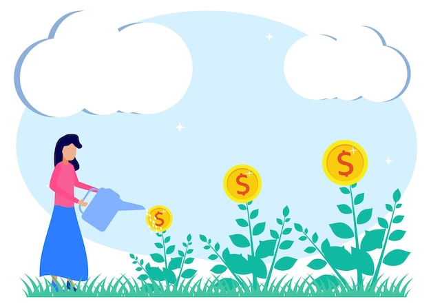 Illustrazione grafica vettoriale personaggio dei cartoni animati di investimento