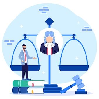 Illustrazione grafica vettoriale personaggio dei cartoni animati di legge e giustizia