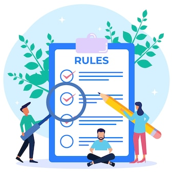 Personaggio dei cartoni animati grafico vettoriale illustrazione dell'elenco delle regole