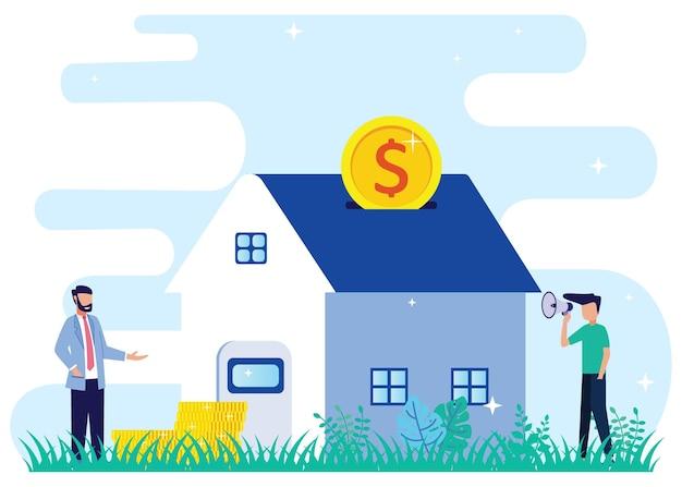 Illustrazione grafica vettoriale personaggio dei cartoni animati di ipoteca
