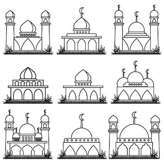Illustrazione grafica vettoriale personaggio dei cartoni animati dell'icona della moschea