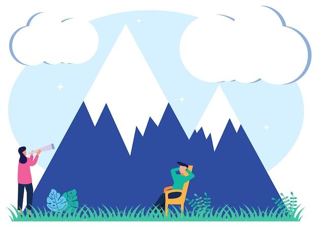Personaggio dei cartoni animati grafico vettoriale illustrazione dell'ecoturismo di montagna