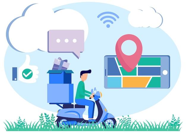 Personaggio dei cartoni animati grafico vettoriale dell'illustrazione del servizio di consegna online Vettore Premium