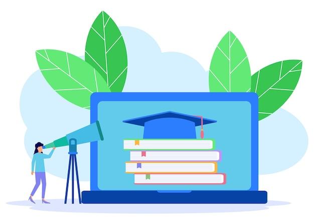 Personaggio dei cartoni animati grafico vettoriale dell'illustrazione dell'istruzione online