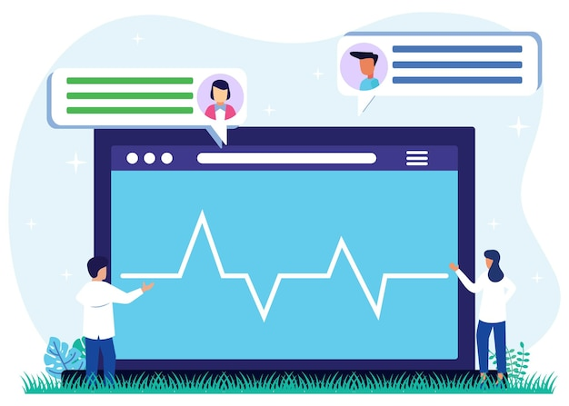 Personaggio dei cartoni animati grafico vettoriale dell'illustrazione della consulenza sanitaria online