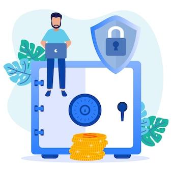 Illustrazione grafica vettoriale personaggio dei cartoni animati di protezione negli affari