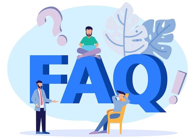 Illustrazione grafica vettoriale personaggio dei cartoni animati di domande e risposte business