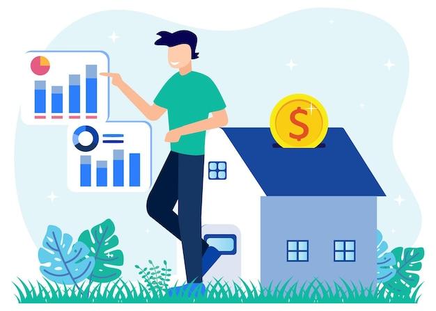 Personaggio dei cartoni animati grafico vettoriale dell'illustrazione dell'attività immobiliare
