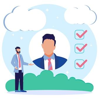 Illustrazione grafica vettoriale personaggio dei cartoni animati di reclutamento